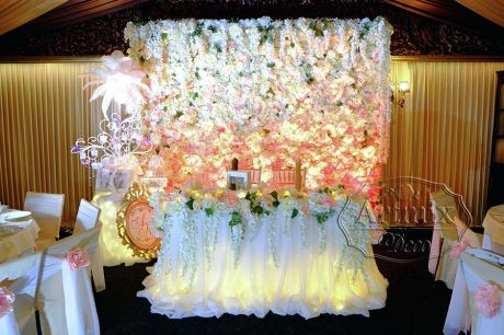 Свадебное оформление задника цветами