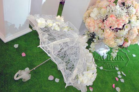 Белый зонтик в аренду для свадьбы