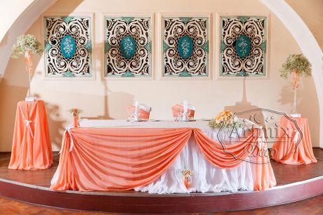 Свадебное оформление в персиковом цвете