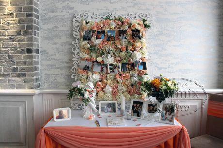 Украшение зоны для книги пожеланий на свадебном торжестве
